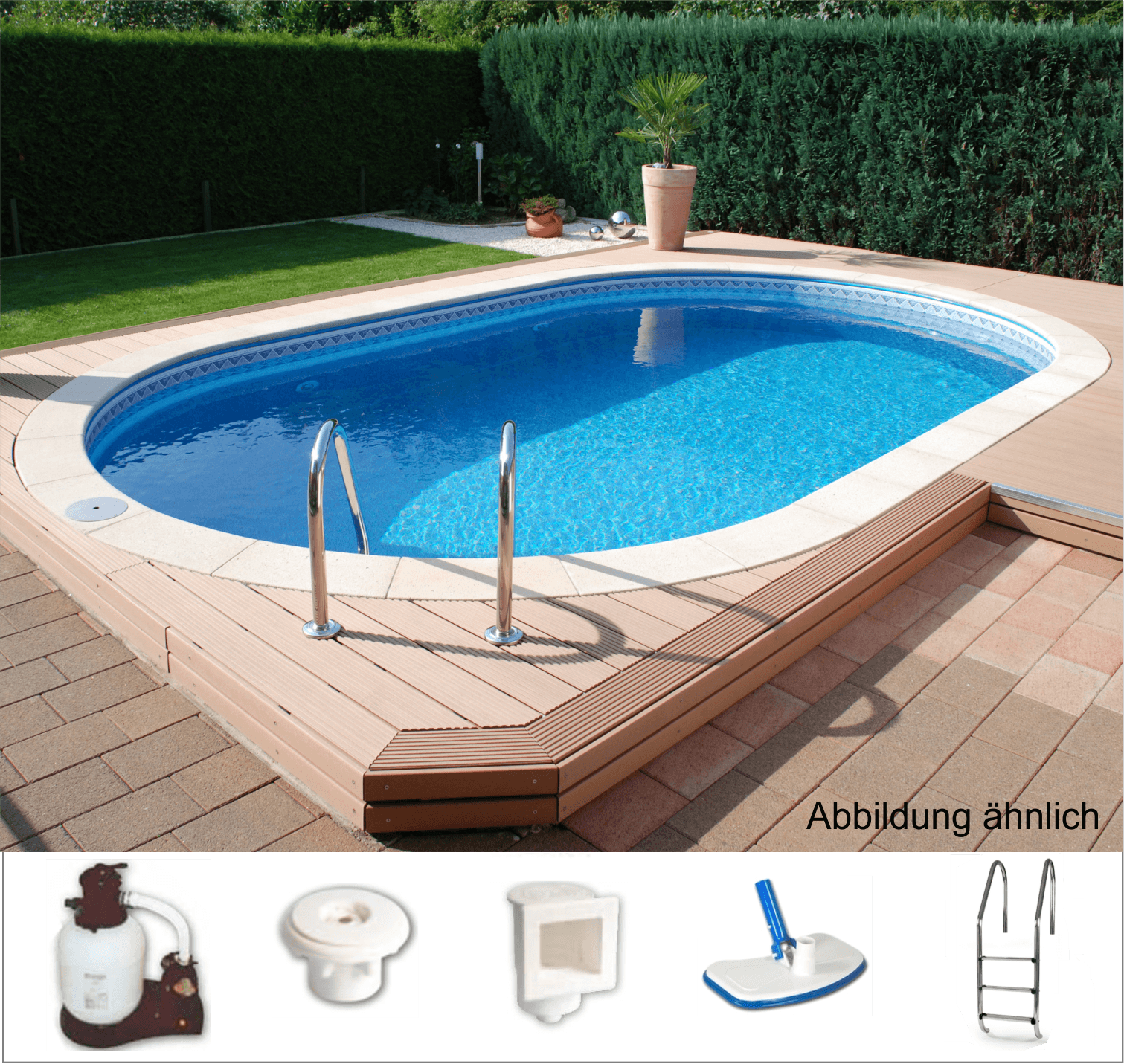 Unipool langformbecken oval pool mit technikpaket 3tb for Garten pool hersteller